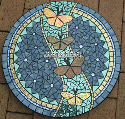 Marble Antique Mosaic Dining Table Top Intricate Inlay Work Hallway Decor H3799