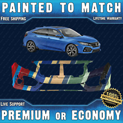 New Painted To Match Front Bumper Cover Fascia For 2017-2019 Honda Civic Hatch