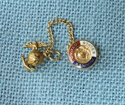 Wwii U.s. Marines Double Sweetheart Pins And Chain Set