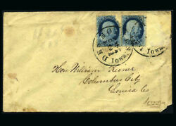 Us Stamp Used F/vf S18 Pair On Cover Desmoines Iowa Tied Cancel Originally