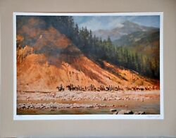 Movingday On The Flathead By Howard Terpning Western Art Print Matted 27x 22