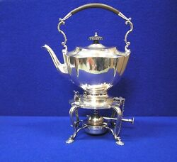 Vintage Hallmarked Sheffield 1900and039s Tea Kettle On Stand By Mappin And Webb
