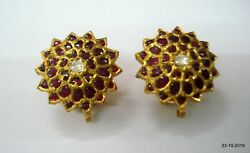 Vintage Antique 18kt Gold Earrings Gold Earring Pair Rajasthan India