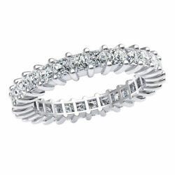 2.5ct Classic Stackable Eternity Band Ring Princess Cut Genuine Diamond 18k Gold