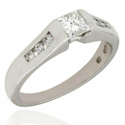 Round Diamond Channel Ring With Princess Diamond Center In 14kw | Bl