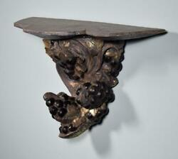 French Antique Decorative Wall Sconce Gilt Painted Wood Corbel/shelf W/grapes