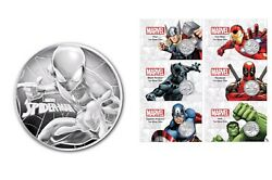 Full Set Spiderman + Marvel Coin Cards Silver 7 X 1oz