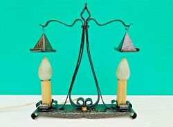 Antique Arts And Crafts Mission Hammered Hand Wrought Iron Desk Lamp