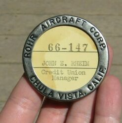 Ww2 Rohr Aircraft Corp Manufacturer Id Identification Employee Badge Pin