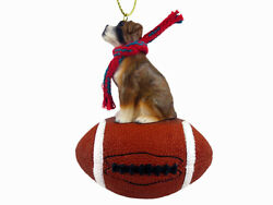 Boxer Dog Brindle Uncropped Football Sports Figurine Ornament