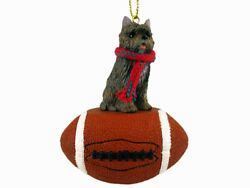 Cairn Terrier Dog Brindle Football Sports Figurine Ornament