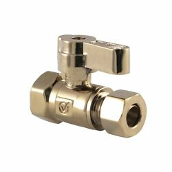 Kingston Brass Kf3315pb 3/8 Fip X 3/8 Od Comp Straight Stop Valve With Lever ...