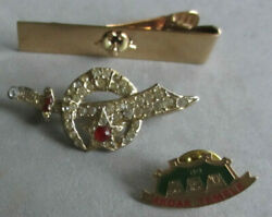 Lot Of 3 Masonic Akdar Items Pins And Tie Clip