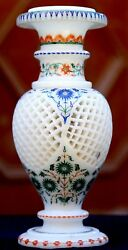 9 White Marble Flower Pot Grill Work Semi Inlaid Marquetry Patio Arts Gifts