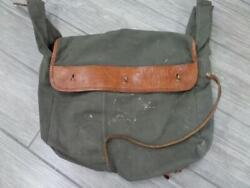 Vintage Army Military Rucksack Bag Leather And Canvas Duffle Messenger Bicycle
