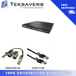 Ws-c3650-48fq-s W/ 1 X C3650-stack-kit, 1 X Stack-t2-1m