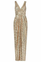 Badgley Mischka Gold V-Back Women Size 8 Sequin Surplice Ruched Gown $650- #302