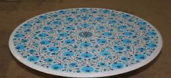 36 Round Marble Table Top Pietra Dura Turquoise Stones Floral Inlay Art Work