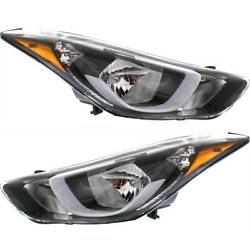 Headlight Set For 2014 2015 2016 Hyundai Elantra Left And Right With Bulb 2pc