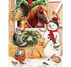 Diamond Christmas Themed Painting Lovely Snowman And Animals Embroidery Patterns