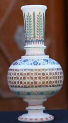 Antique White Marble Flower Pot Semi Inlaid Patio Inlay Arts Gifts
