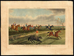 Antique Print-horse-race-ditch-hedge-jump-fall-laporte-reeve-1853
