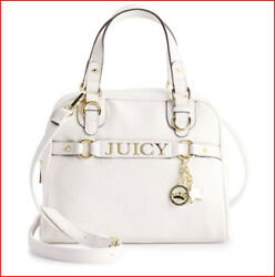 Juicy Couture Designer Crossbody SATCHEL Dome Faux Leather Purse WHITE ❤️NEW❤️ $74.95