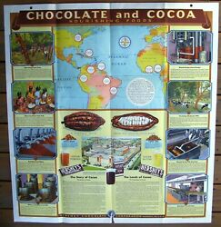 1944 Chocolate And Cocoa, Hershey Cocolate Large Poster, W/original Envelope