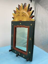 Vintage Gypsy Sun And Stars Wooden Hanging Mirror Old Handmade With 3 Hangars