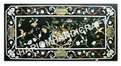 4and039x2and039 Marble Black Dining Table Top Marquetry Inlay Work Handmade Decor E974b