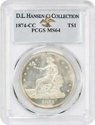 1874-CC Trade$ PCGS MS64 ex: D.L. Hansen Collection - Scarce Date - Scarce Date