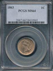 1863 Copper-nickel Indian Cent Pcgs Ms 64 Housed In An Older Blue Holder