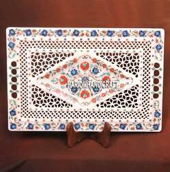 18x12'' Marble Serving Tray Plate Grill With Floral Inlaid Decor Wedding Gifts