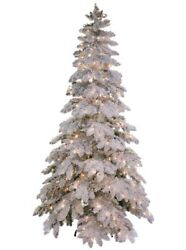Trestrella 7.5 Heavy Flocked Snowfall Pine Prelit White Clear Lights Xmas Tree