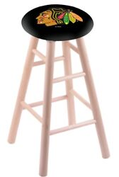 Maple Bar Stool In Natural Finish With Chicago Blackhawks Seat By The Holland...
