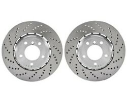 Pair Set Of 2 Genuine Rear Cross Drilled Brake Disc Rotors For Bmw F90 M5 18-19