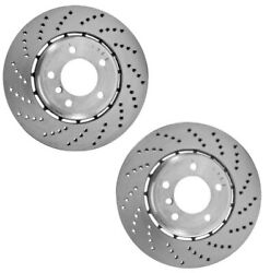 Pair Set 2 Genuine Front Brake Vented Drilled Disc Rotors For Bmw F90 M5 18-19