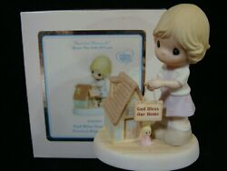 Zb Precious Moments-girl Hanging Sign On Dollhouse-god Bless Our Home-touching
