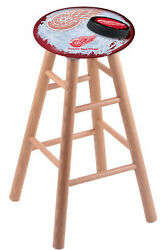 Holland Bar Stool Co. Oak Counter Stool In Natural Finish With Detroit Red Wi...