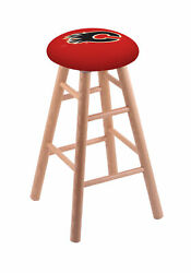 Holland Bar Stool Co. Oak Counter Stool In Natural Finish With Calgary Flames...