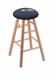 Oak Vanity Stool In Natural Finish With Nashville Predators Seat By The Holla...