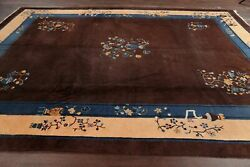 Antique Floral Art Deco Nichols Chinese Area Rug Wool Hand-knotted Brown 9and039x12and039