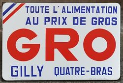 Old French Enamel Shop Grocer Building Sign Plaque Notice Gro Gilly 4 Bras 1969