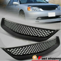 Fit 2001-2003 Honda Civic Jdm Type Black Mesh Style Front Hood Grille Grill