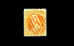 Us Stamp Used Vf S100 Nice Looking Red Grid Cancel Tiny Surface Thin
