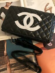 VIP Gift Black Quilted & White CC Fanny Pack  Waist Belt Bum Bag.