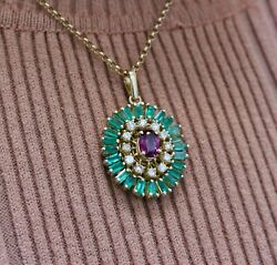Vintage 14k Yellow Gold Large 27x25mm Oval Four Carat Gemstone Pendant Necklace