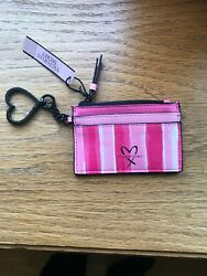 New VICTORIA SECRET KEYCHAIN COIN PURSE ID CREDIT CARD CASE Pink Striped  NWT