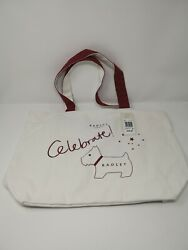 Authentic Radley London Celebrate Canvas Top Zip Tote - WhiteRedSilver
