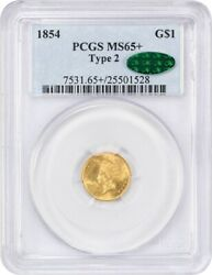 1854 G$1 PCGSCAC MS65+ (Type 2) Scarce Type 2 Variety - 1 Gold Coin